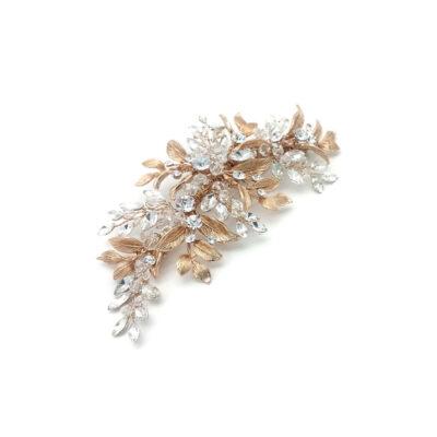 Rose gold leaf bridal hair comb