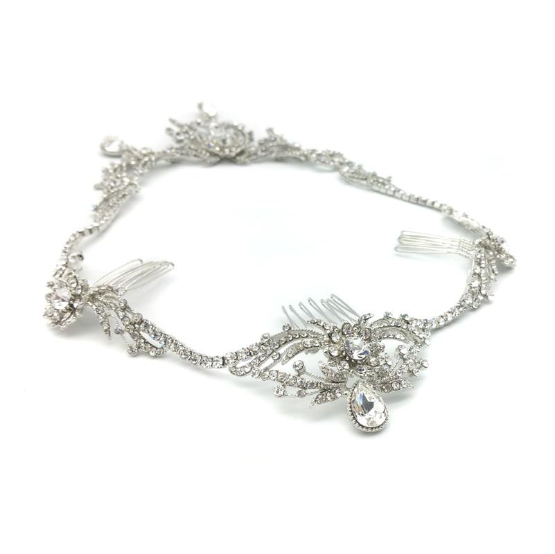 silver circlet bridal halo crown