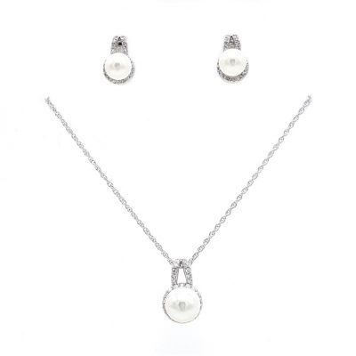 silver pearl drop necklace set