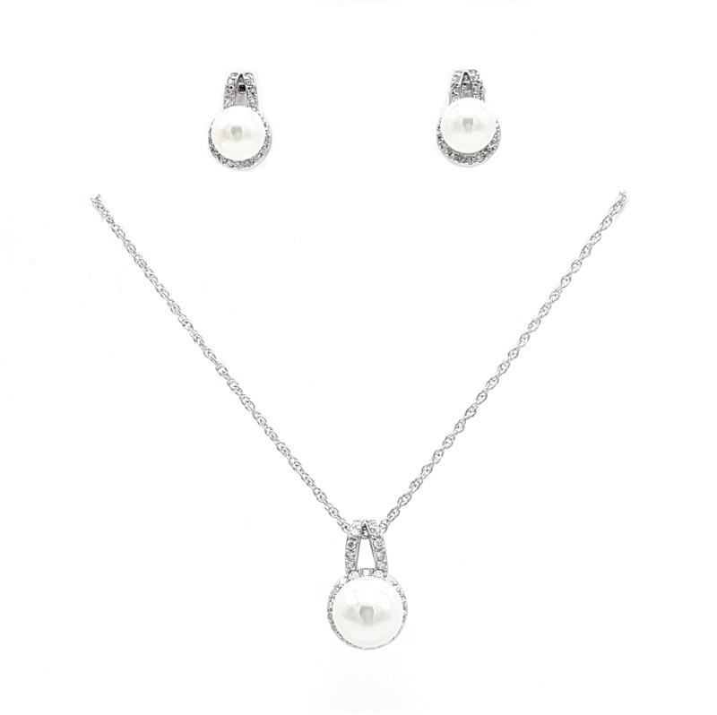 silver pearl drop necklace set