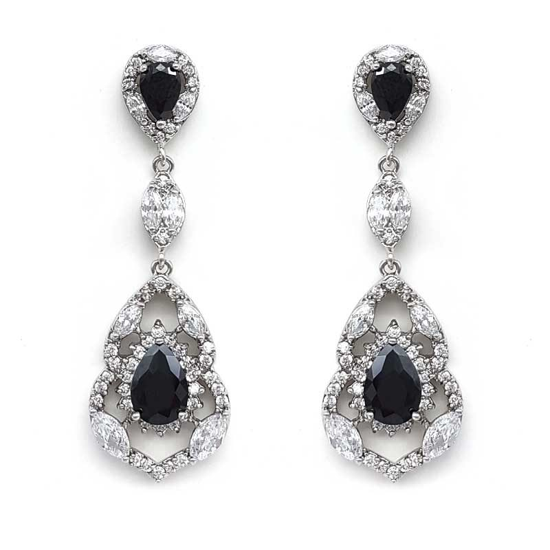 black vintage bridal earrings