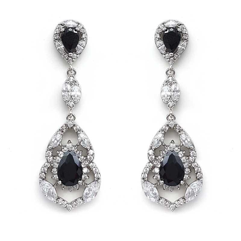 black vintage bridal earrings