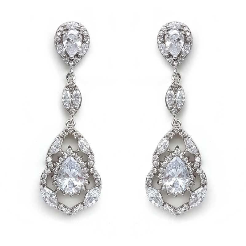 vintage silver bridal earrings