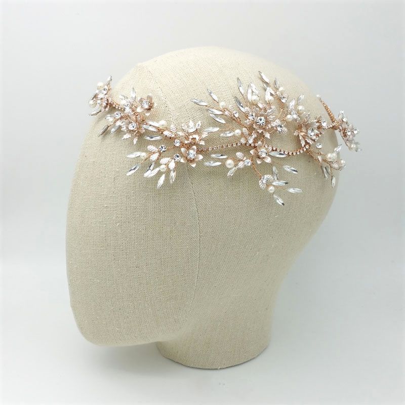 Gold crystal and pearl crown