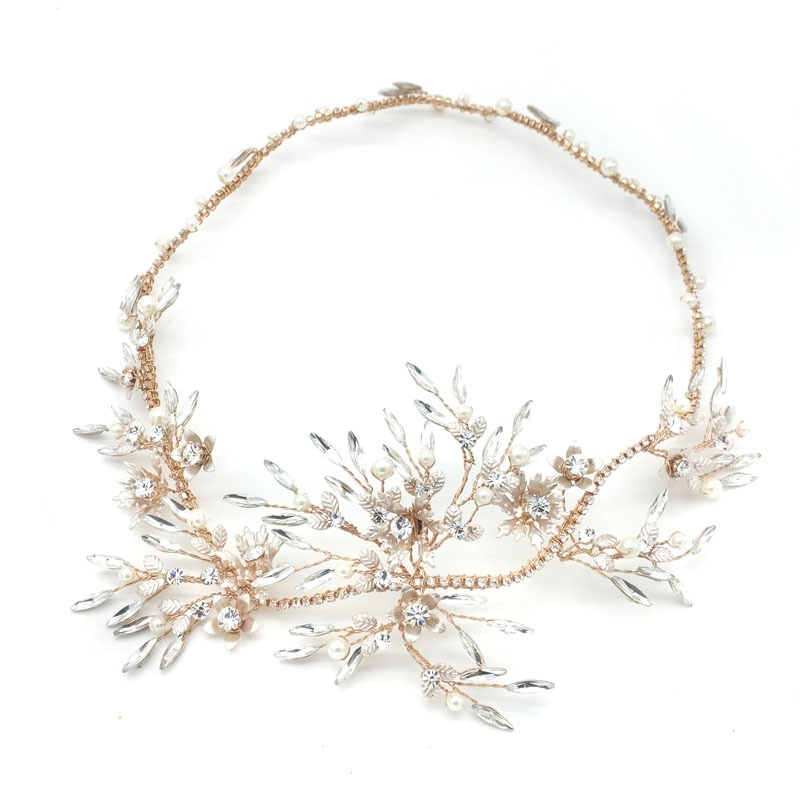 gold crystal and pearl bridal wreath