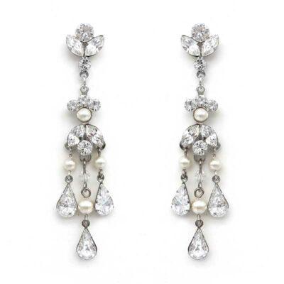 swarovski crystal and pearl long chandelier earrings