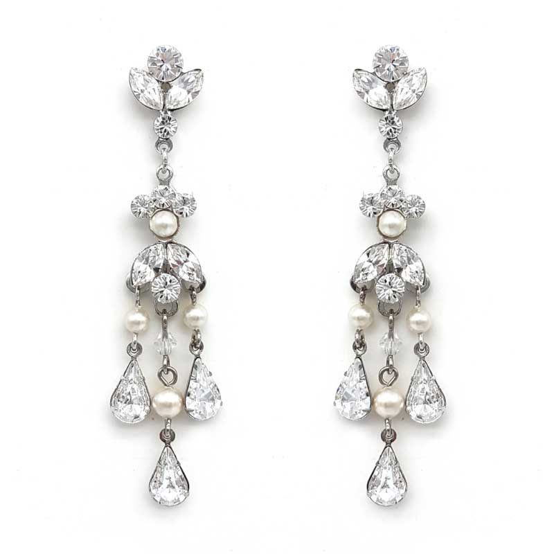 swarovski crystal and pearl long chandelier earrings