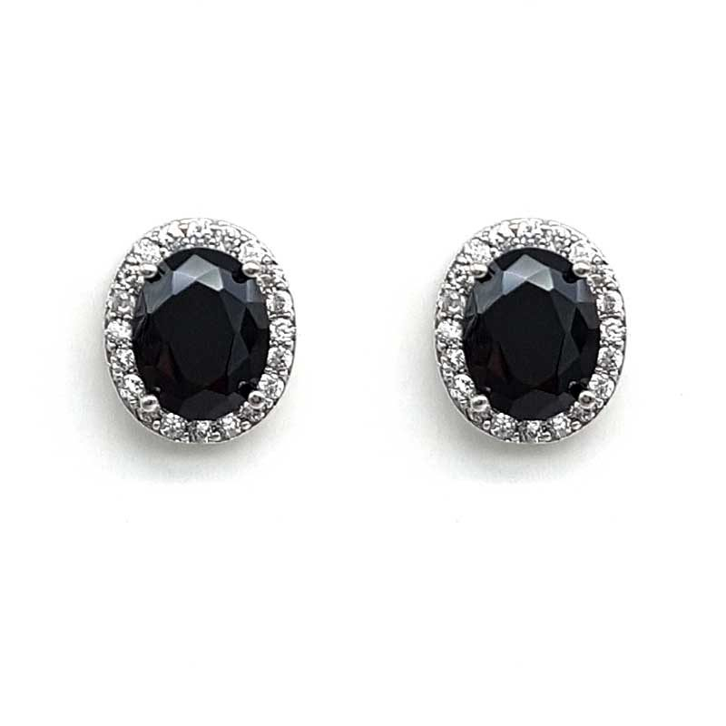 black classic oval studs