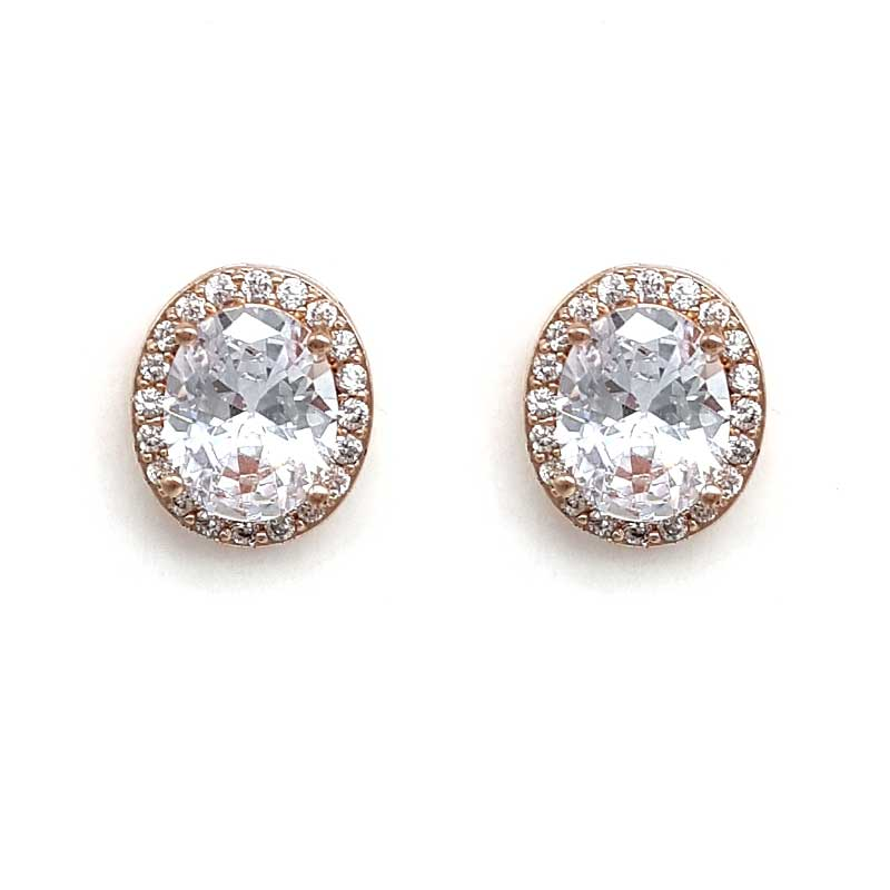 simple rose gold oval studs
