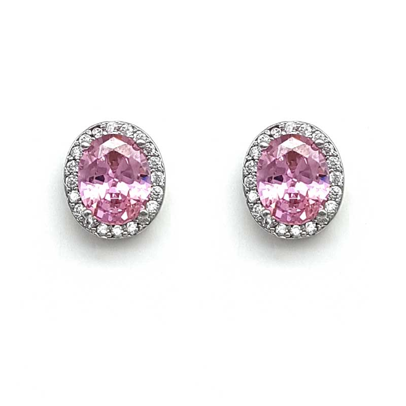 pink classic oval studs