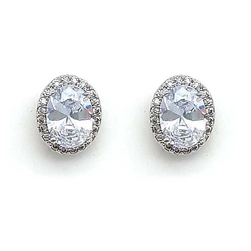 silver classic oval studs