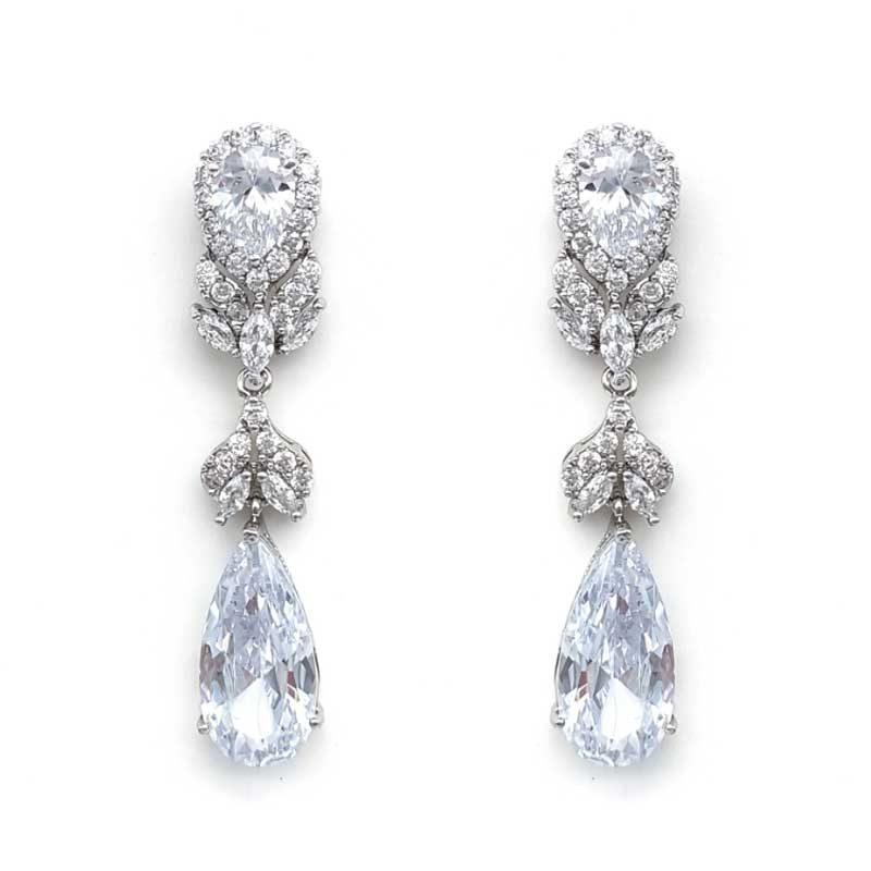 narrow silver long drop earrings