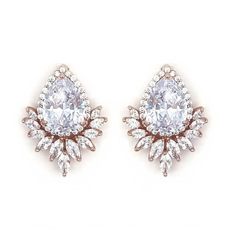 rose gold large bridal studs
