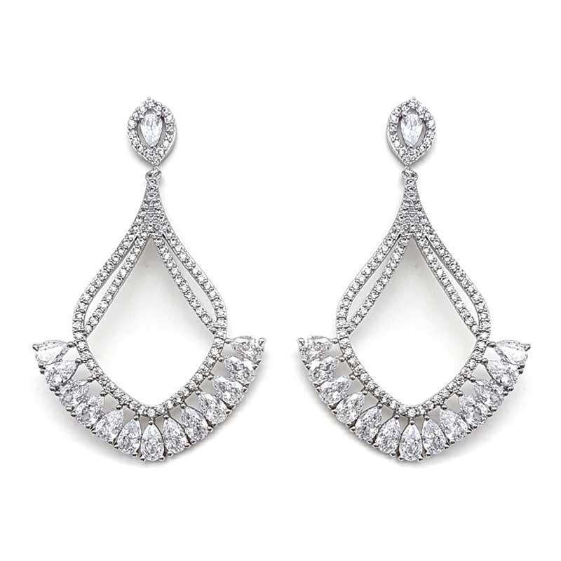 Silver open drop earrings