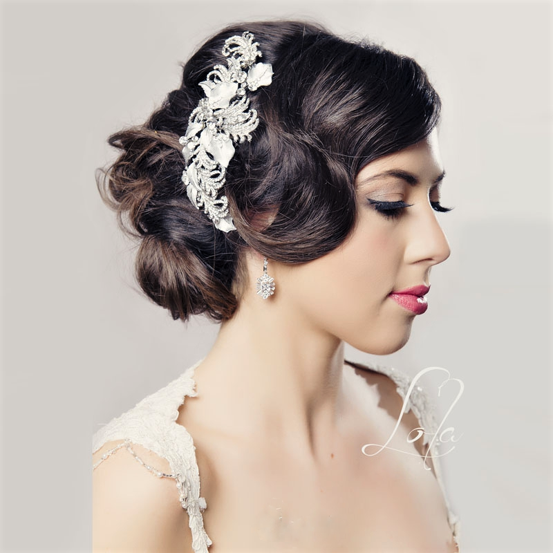 Rhodium silver bridal hair comb