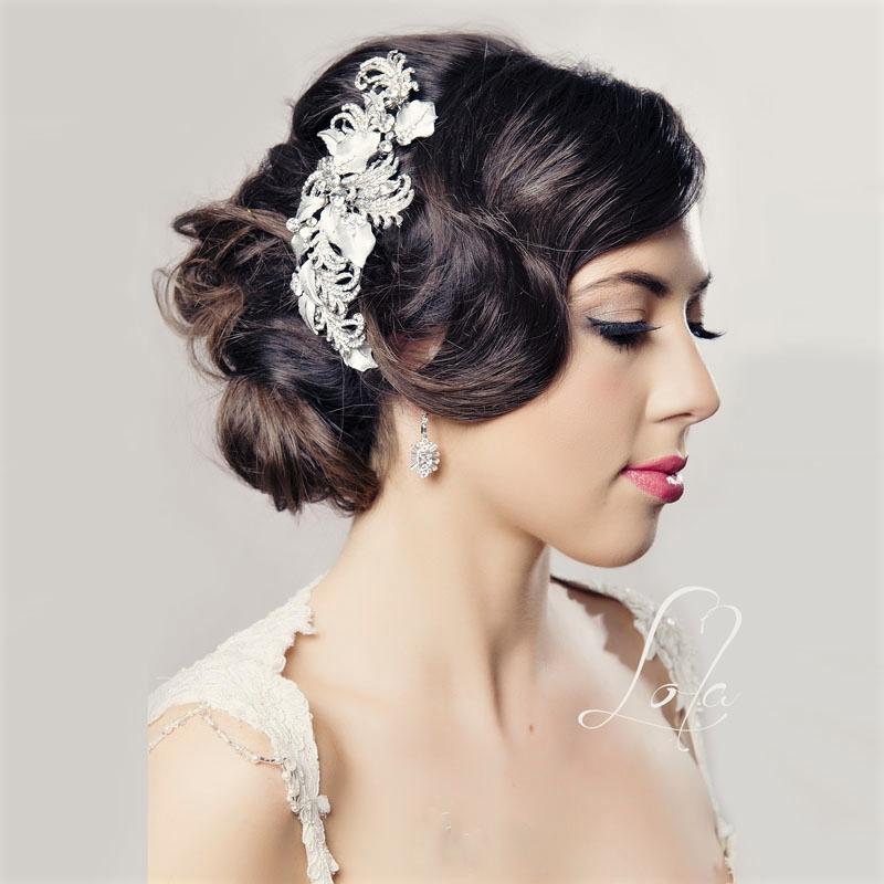 Rhodium silver bridal hair comb