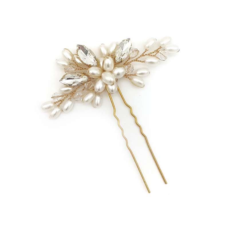 Gold pearl and crystal bridal hair pin