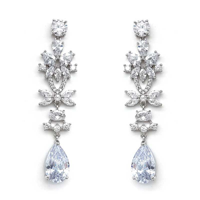 silver narrow drop earrings