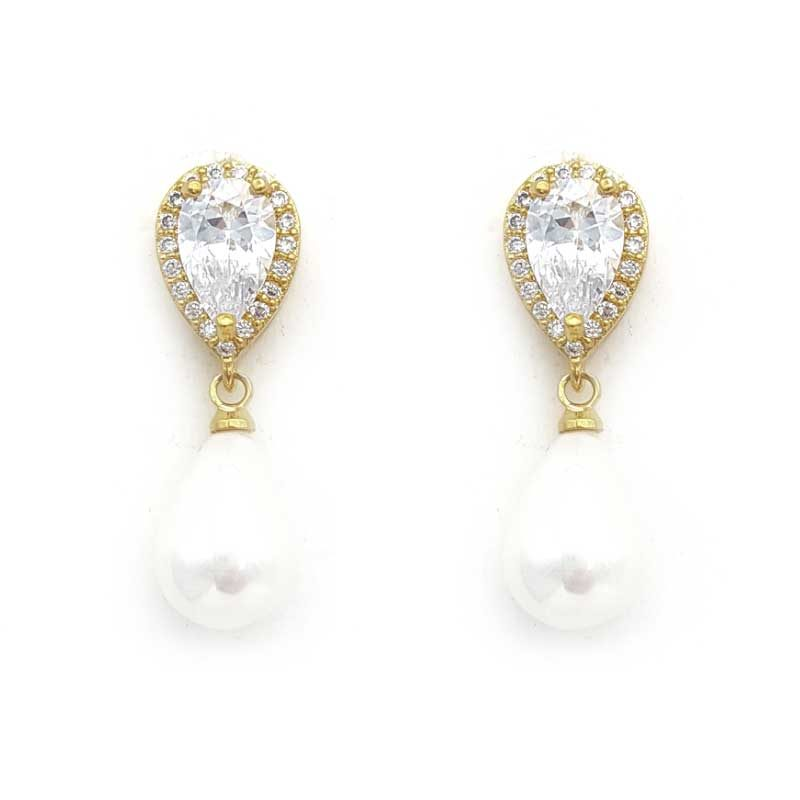 gold pearl drop bridal studs