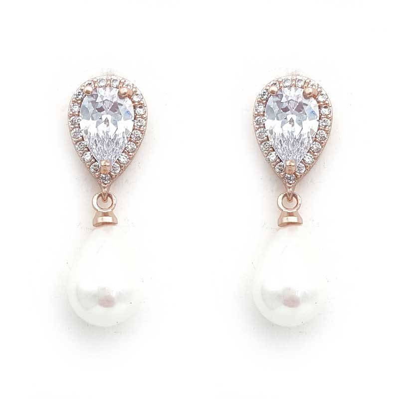 rose gold classic pearl drop earrings