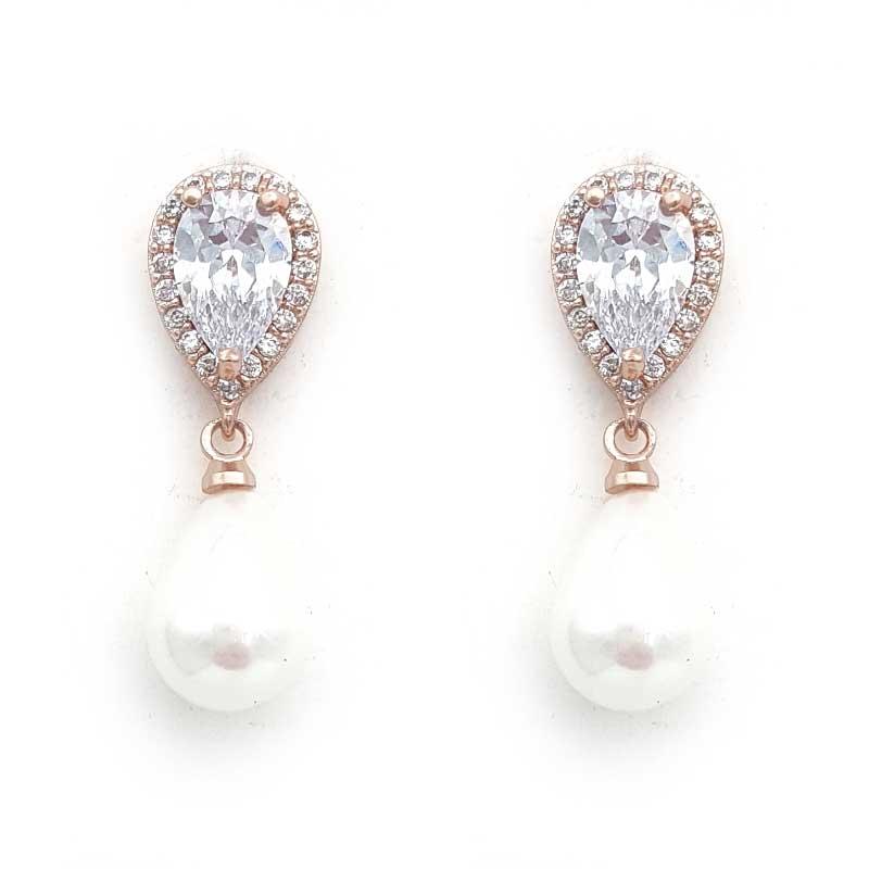 rose gold classic pearl drop earrings