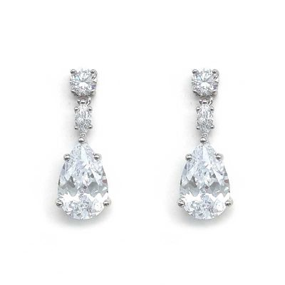 cubic zirconia silver drop earrings