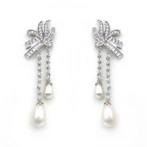 vintage pearl drops bridal earrings