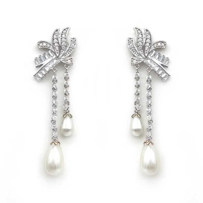 vintage pearl drops bridal earrings