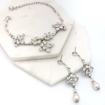 swarovski crystal and pearl bracelet set