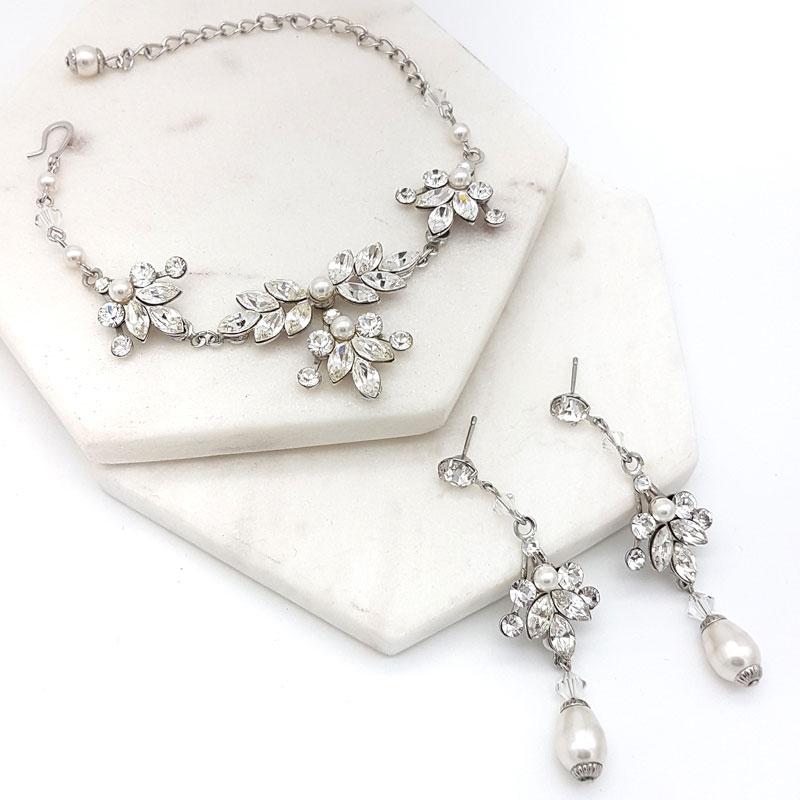 swarovski crystal and pearl bracelet set