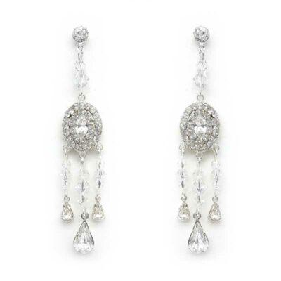 silver swarovski crystal earrings
