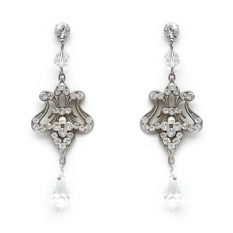 silver crystal bridal earrings