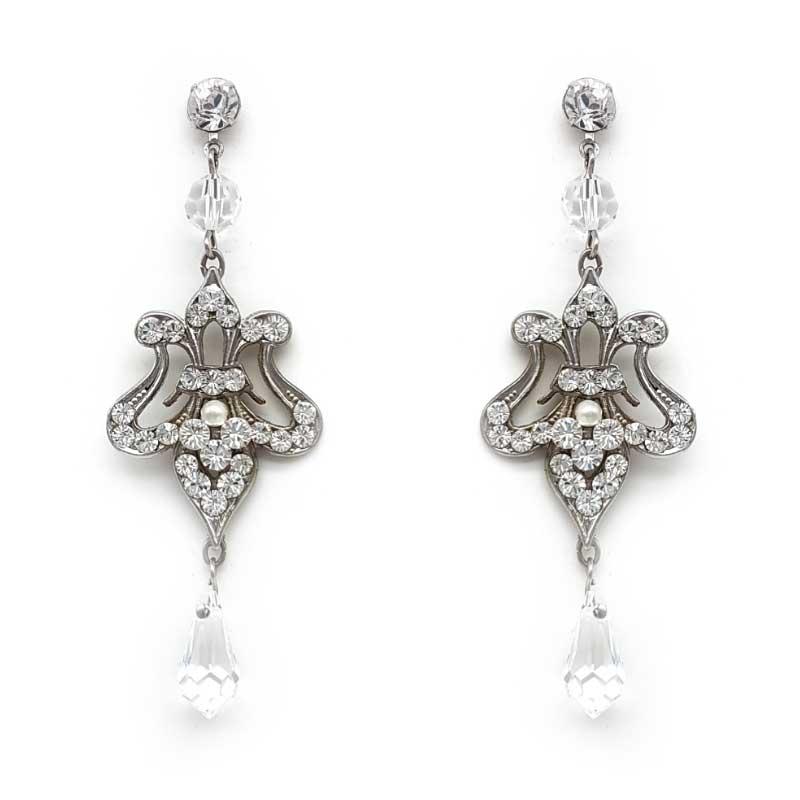silver crystal bridal earrings