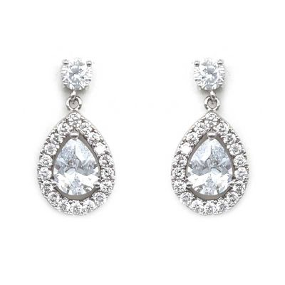 classic cz tear shaped drop earrings