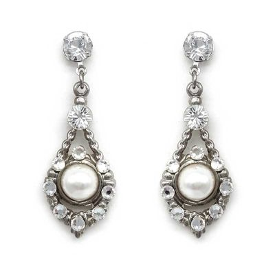 silver pearl and crystal earrings