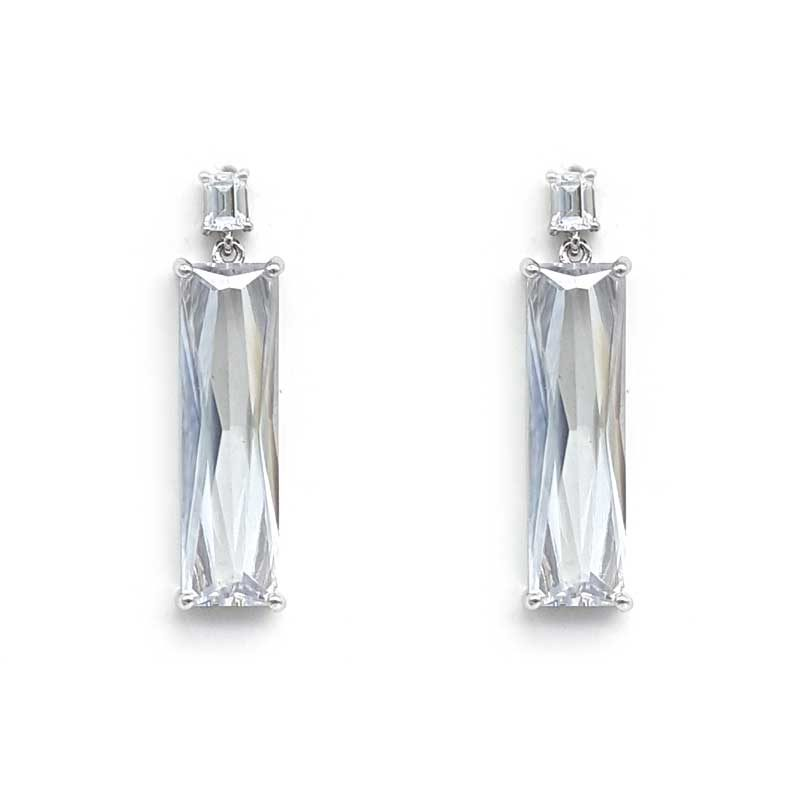rectangular baguette cubic zirconia silver earrings