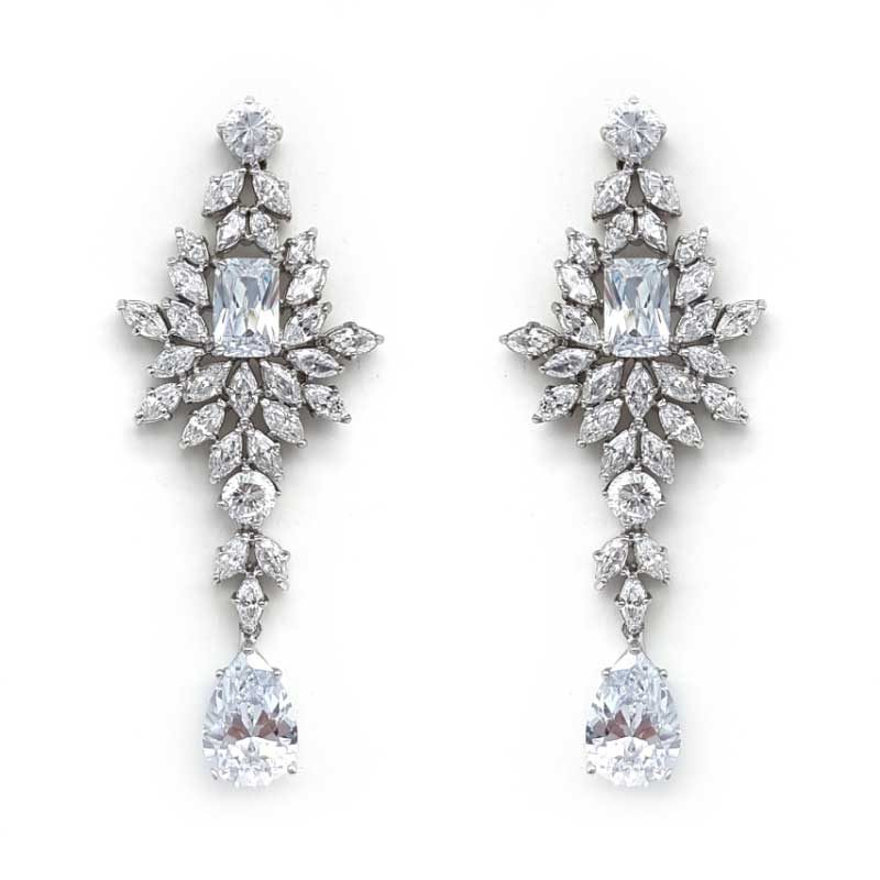 silver cz vintage drop earrings