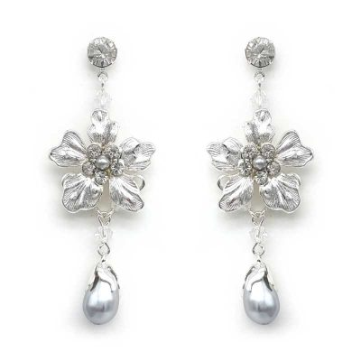 floral pearl bridal earrings