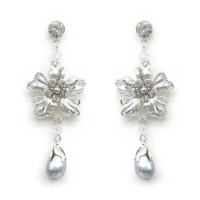 floral pearl bridal earrings