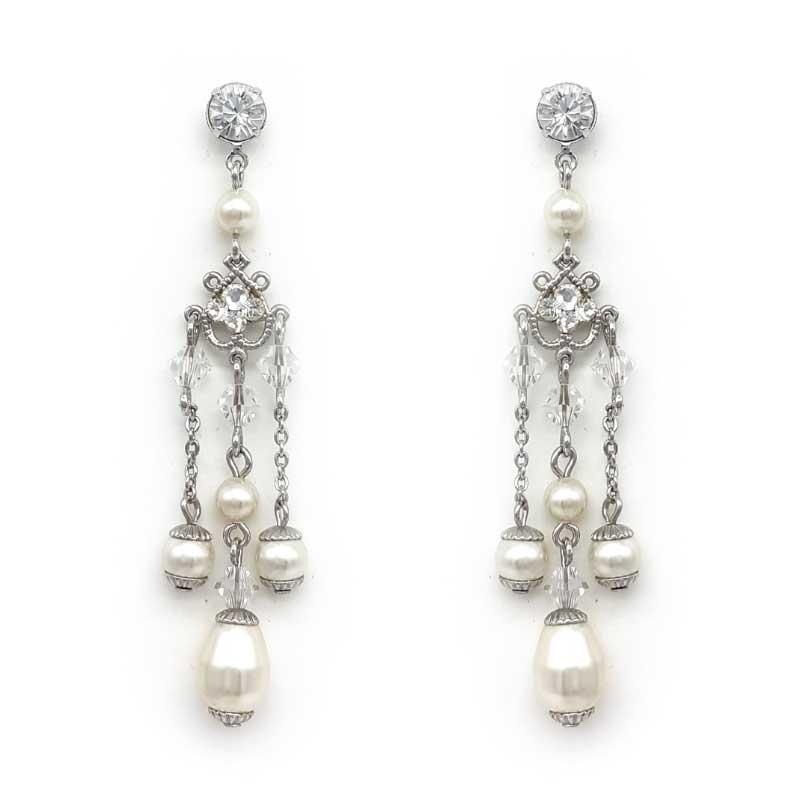 silver drop crystal and pearl earrings