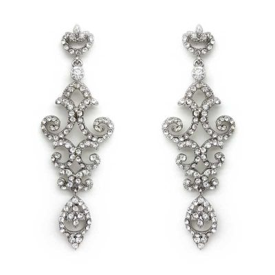 silver chandelier bridal earrings