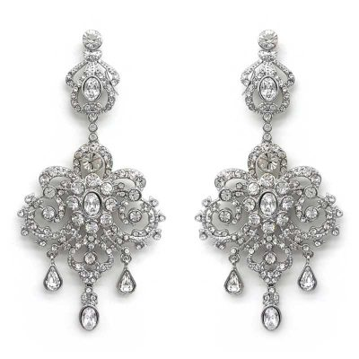 silver large chandelier earrings