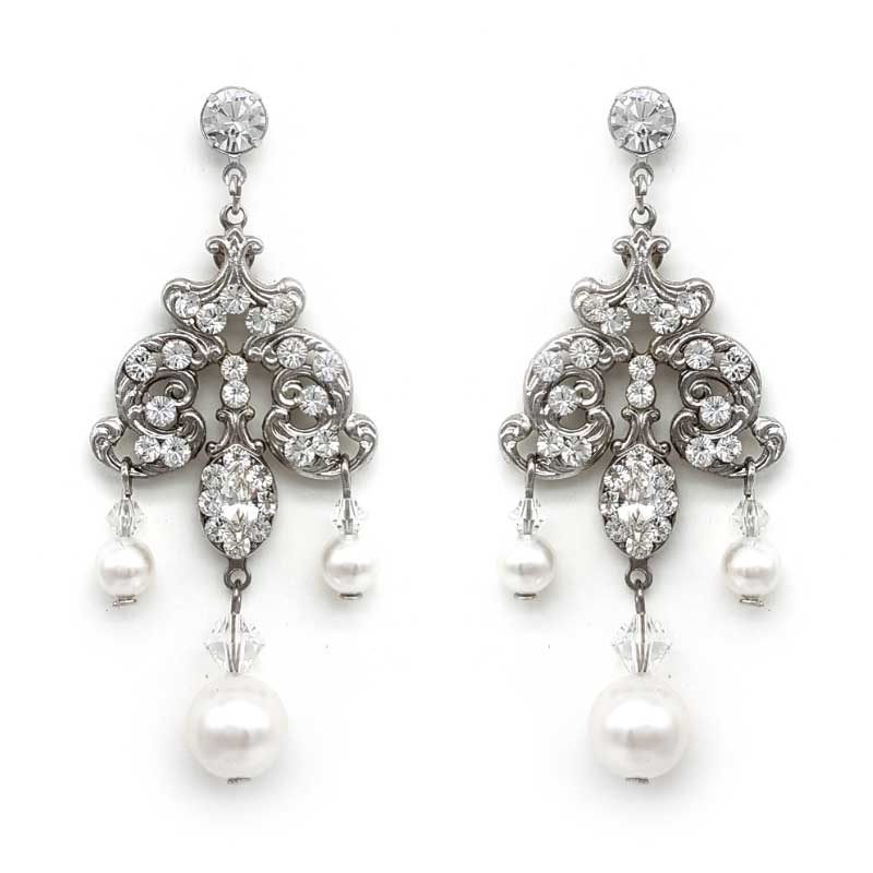 pearl chandelier bridal earrings