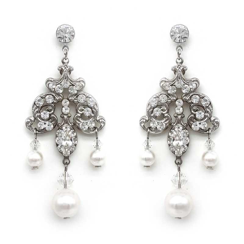 Rosie swarovski chandelier earrings silvergoldrose gold glam pearl chandelier bridal earrings aloadofball Image collections