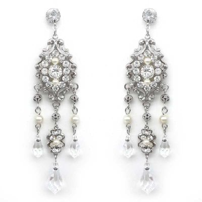 crystal and pearl chandelier earrings