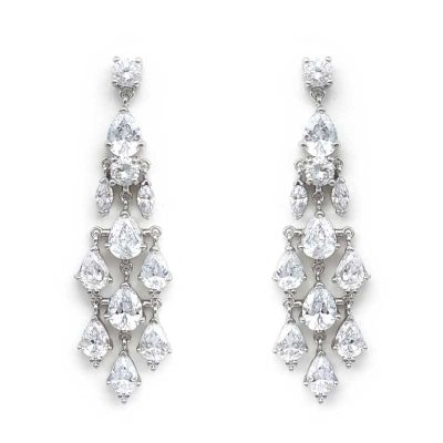 silver cz chandelier earrings
