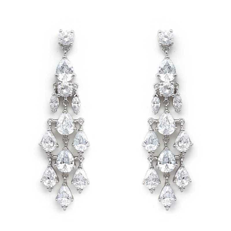 silver cz chandelier earrings