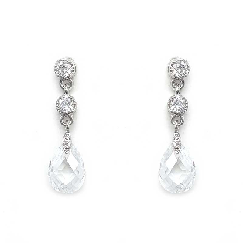 clear silver bridal drop earrings
