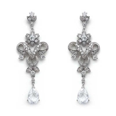 cz vintage drop earrings
