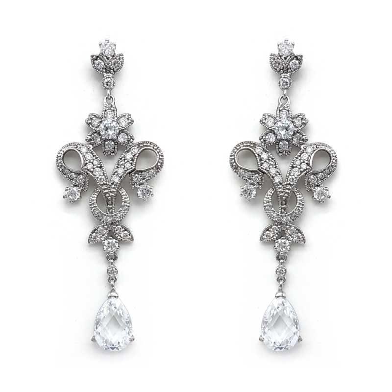 cz vintage drop earrings